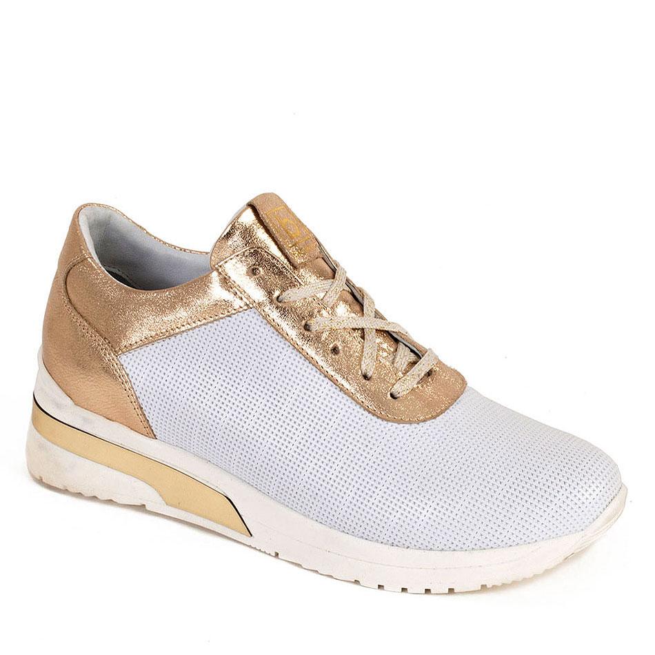 Biało złote sportowe buty z tłoczeniem