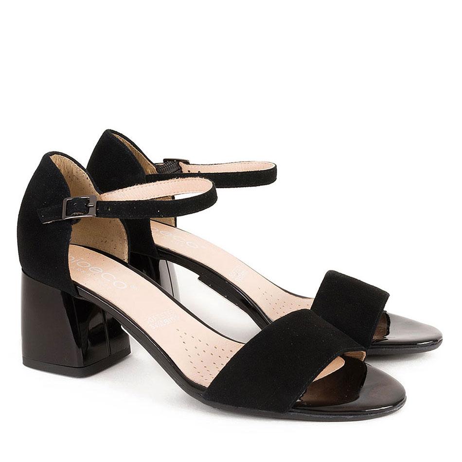 Czarne welurowe sandały