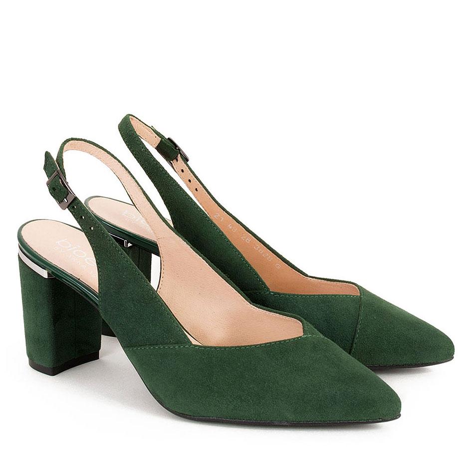 Zielone welurowe sandałki z oblekanym obcasem