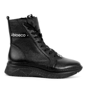 Czarne botki sznurowane z taśma BIOECO
