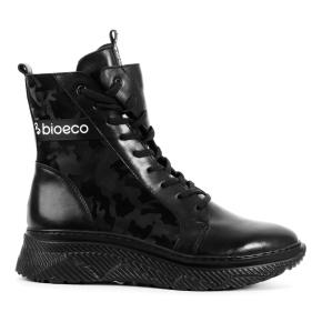 Czarne skórzane botki z taśmą BIOECO