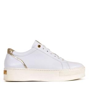 Białe sportowe buty z wstawką złotą