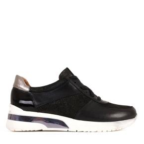 Czarne sportowe sznurowane buty z srebrną wstawką