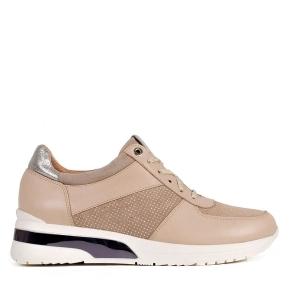 Beżowe sportowe buty z srebrnymi dodatkami