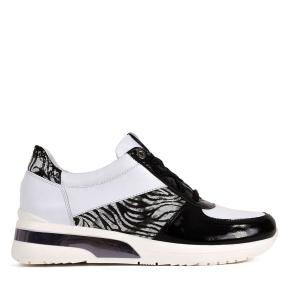 Biało czarne eleganckie sportowe buty sznurowane