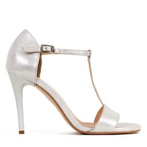 Srebrne skórzane sandały na wysokiej szpilce