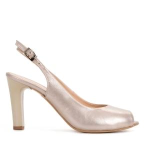 Beżowe skórzane sandały z odkrytymi palcami
