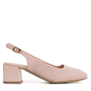Różowe skórzane sandały z tłoczeniem