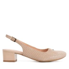 Beżowe skórzane sandały z ozdobą
